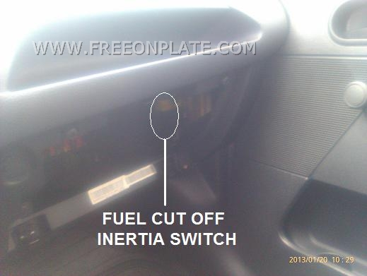 how to find ford fiesta inertia switch - fuel cut off switch